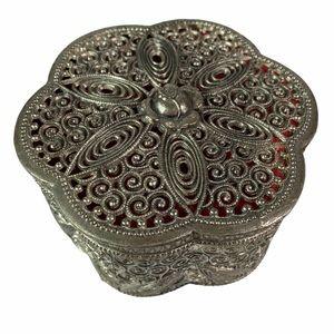 Vintage Japanese Trinket Jewelry Box Silver Metal